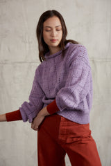 Adult Windowpane Pullover / Lavender