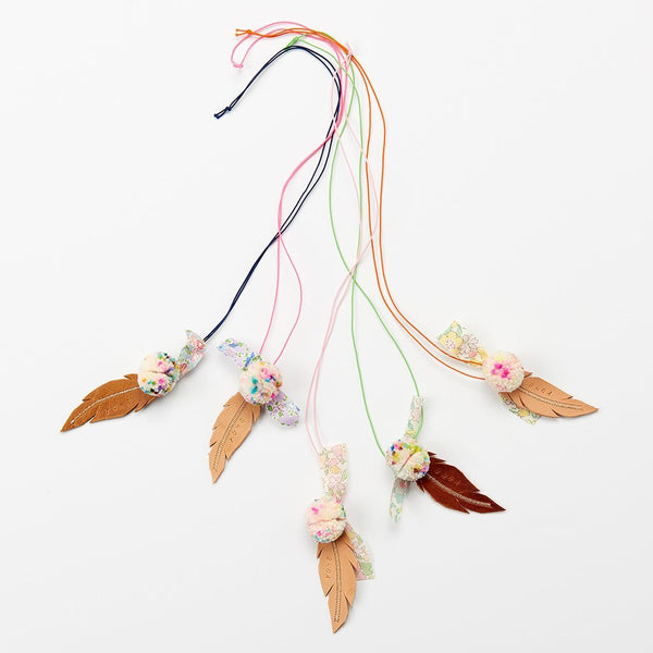 Feather and Pom Necklace