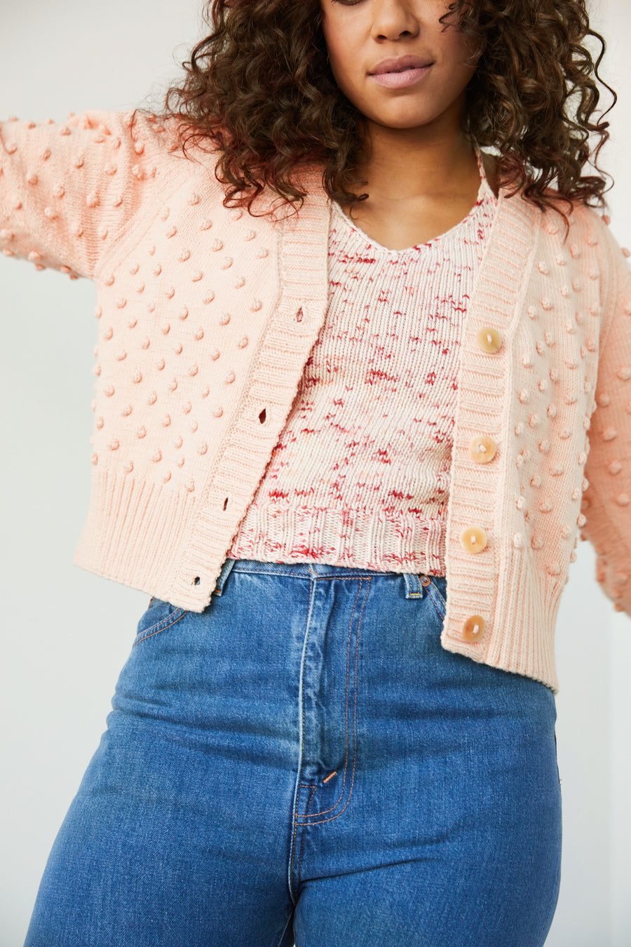 Adult V-Neck Popcorn Cardigan - Light Peach