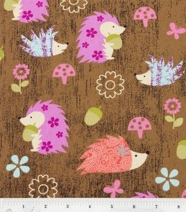 Pink/Brown Hedgehog Flannel