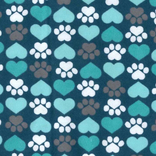 Sleeping Bag - Teal Pawprint Hearts
