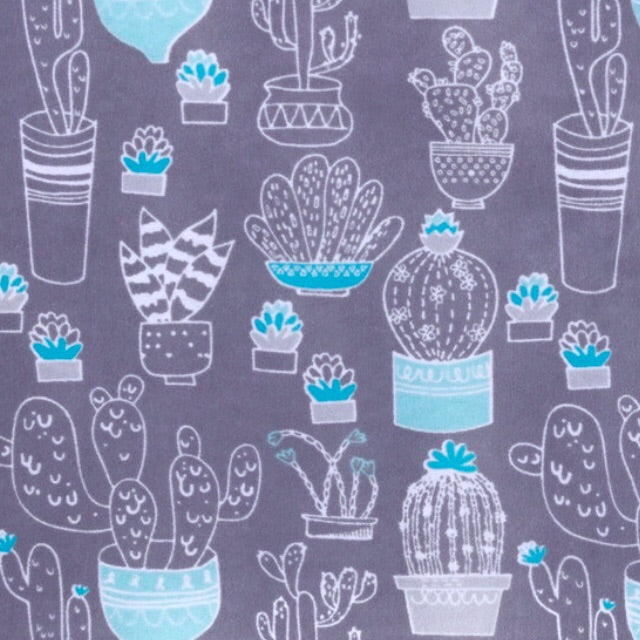 Sleeping Bag - Gray Blue Cactus