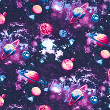 Load image into Gallery viewer, Sleeping Bag - Pink Purple Planets (Sparkles)