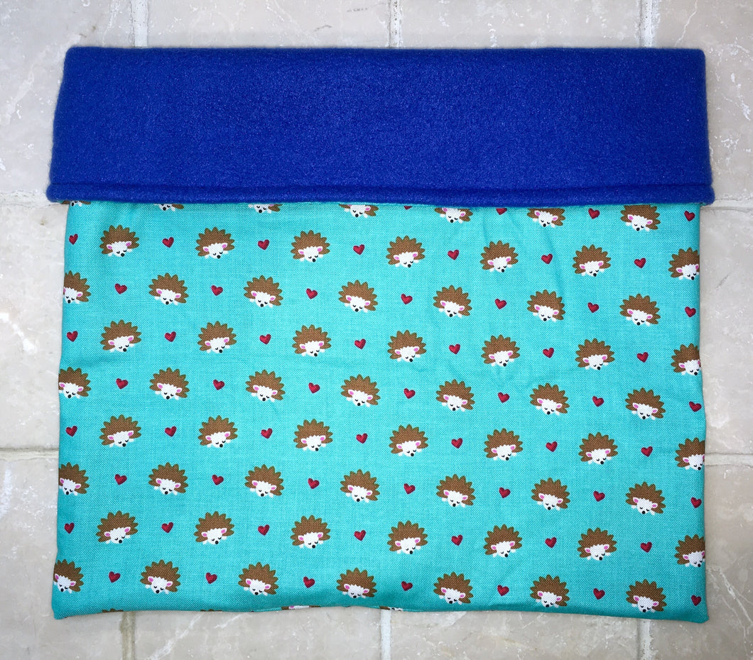 Sleeping Bag - Tiny Blue Hedgehog Hearts