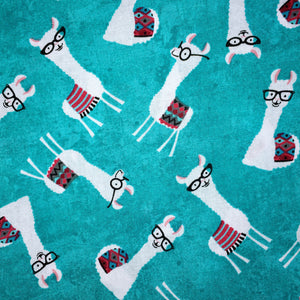 Sleeping Bag - Turquoise Nerdy Llamas
