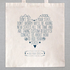 State of My Heart- Tote Bag - Add Your State
