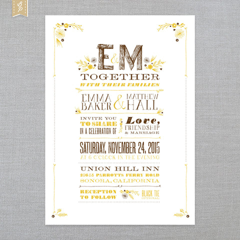 Rustic Romance - Invitation