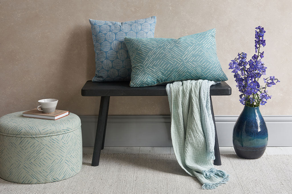 Claire Gaudion soft furnishings, cushions, throws