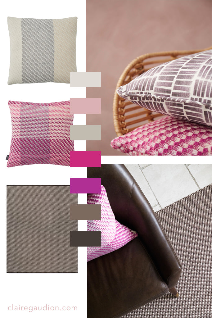 Colour Inspiration moodboard | Magenta Fuchsia and Brown