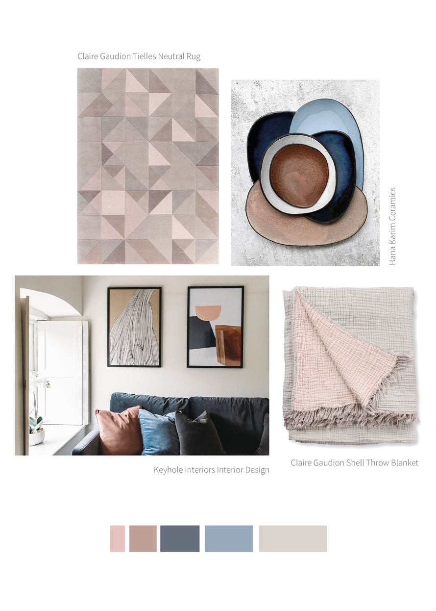 Pink, navy and white room decor