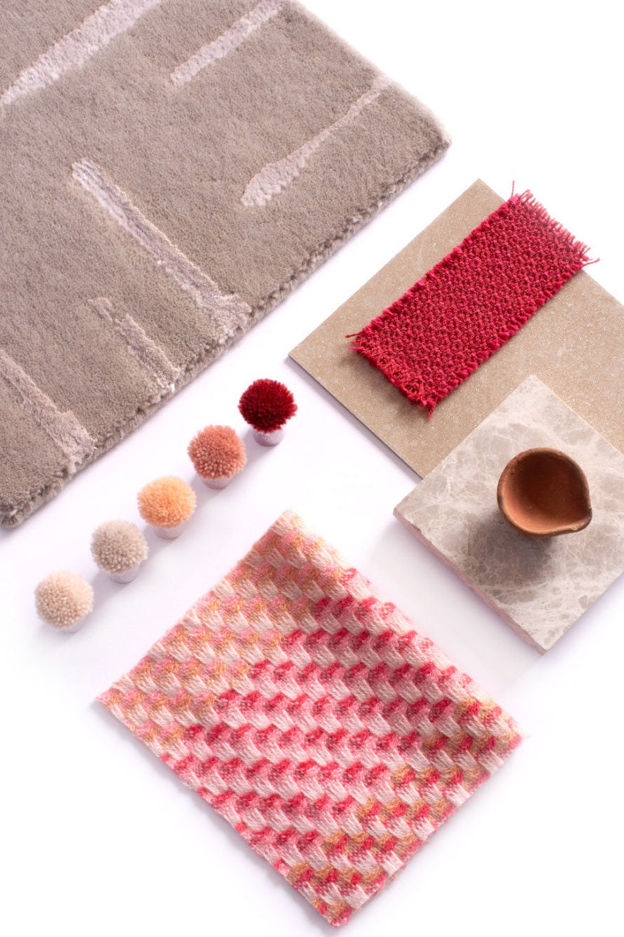 Pink carpets and fabrics by Claire Gaudion