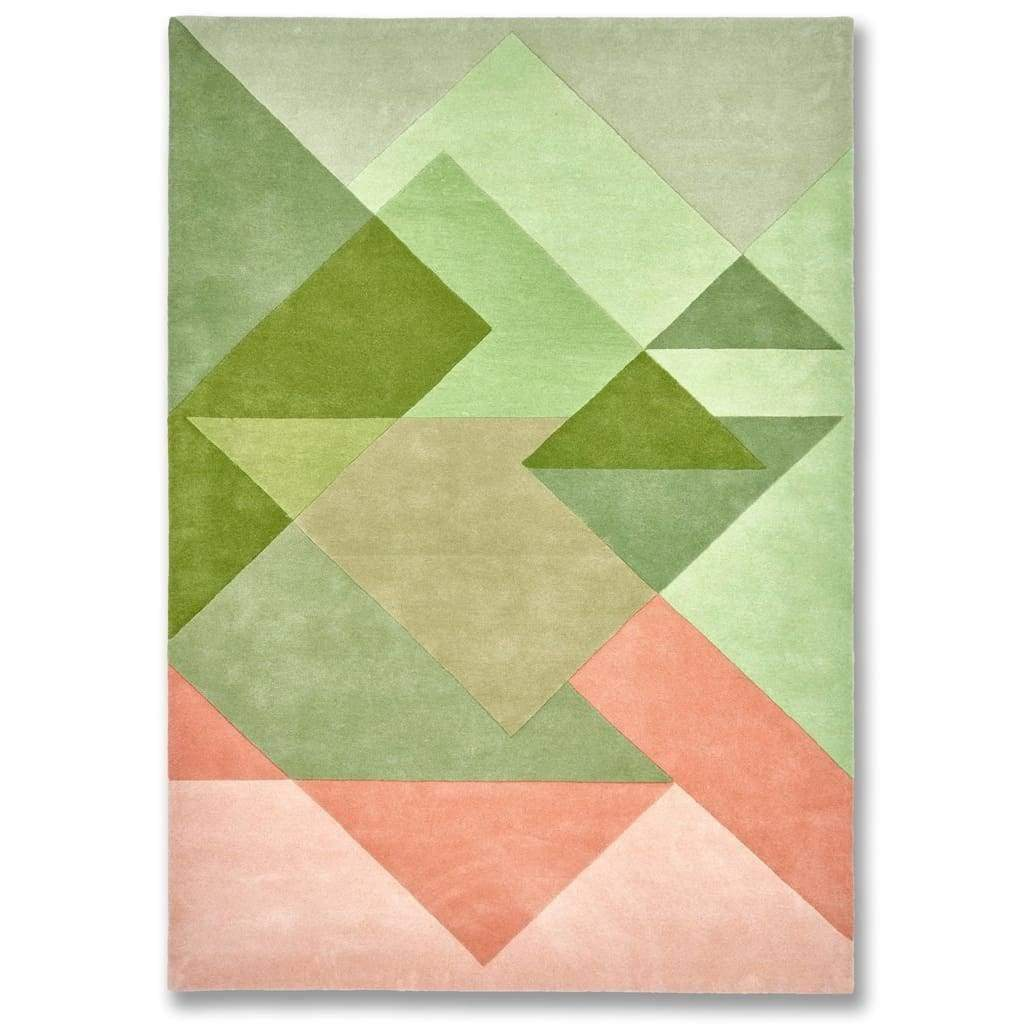 Bordeaux Vert Rug is a unique and stylish geometric patterned rug that pairs greens and pinks. Bring the outdoors in with our nature inspired wool rugs.