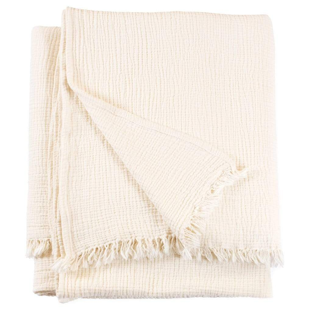 Woven from luxurious 100% cotton the Chalk Throw Blanket has a crinkle texture and super soft look and feel.