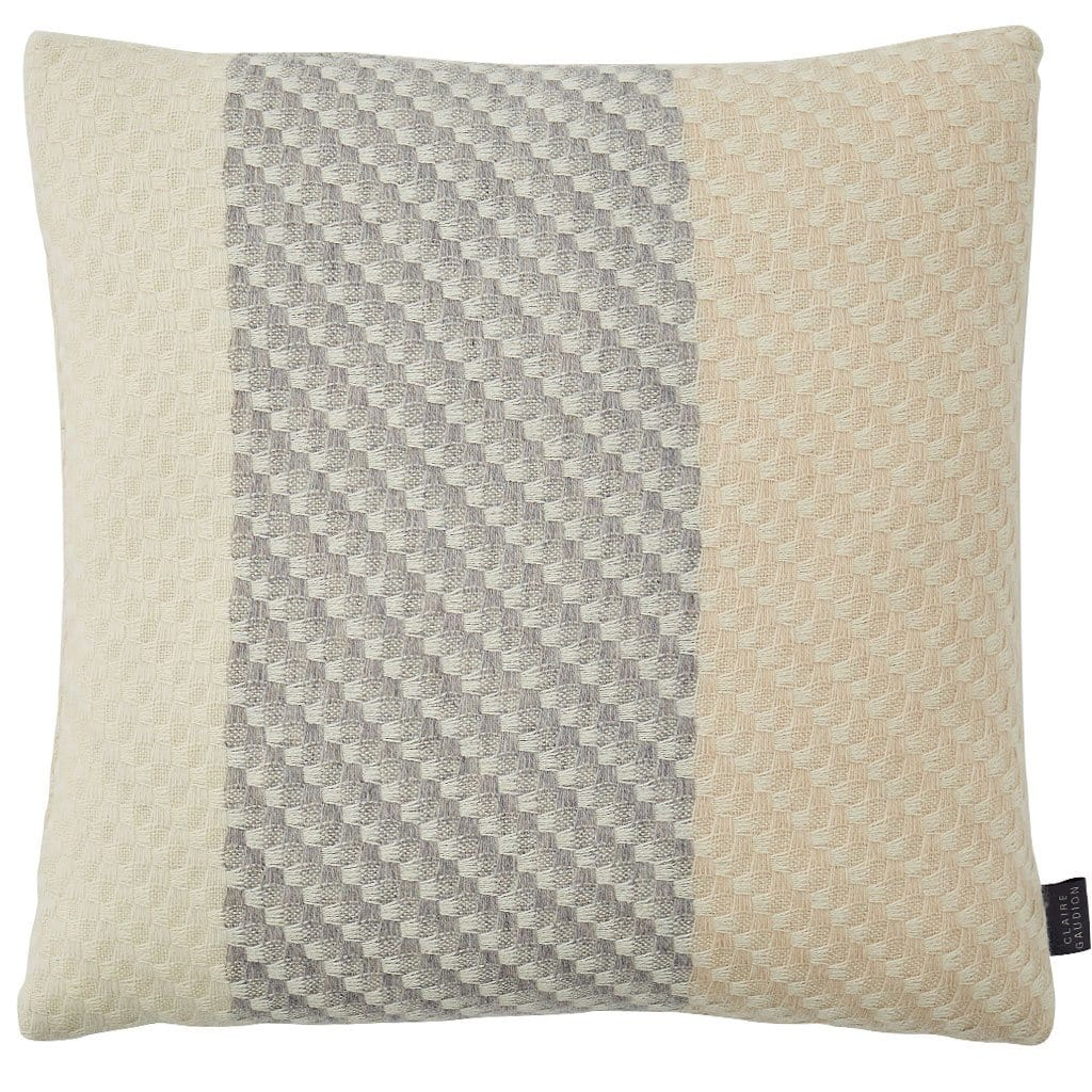 Ecru Cushion is a natural colour cushion woven in a luxurious mix of lambswool, silk and superfine merino wool. This wool cushion has a cream base with a mid grey stripe.