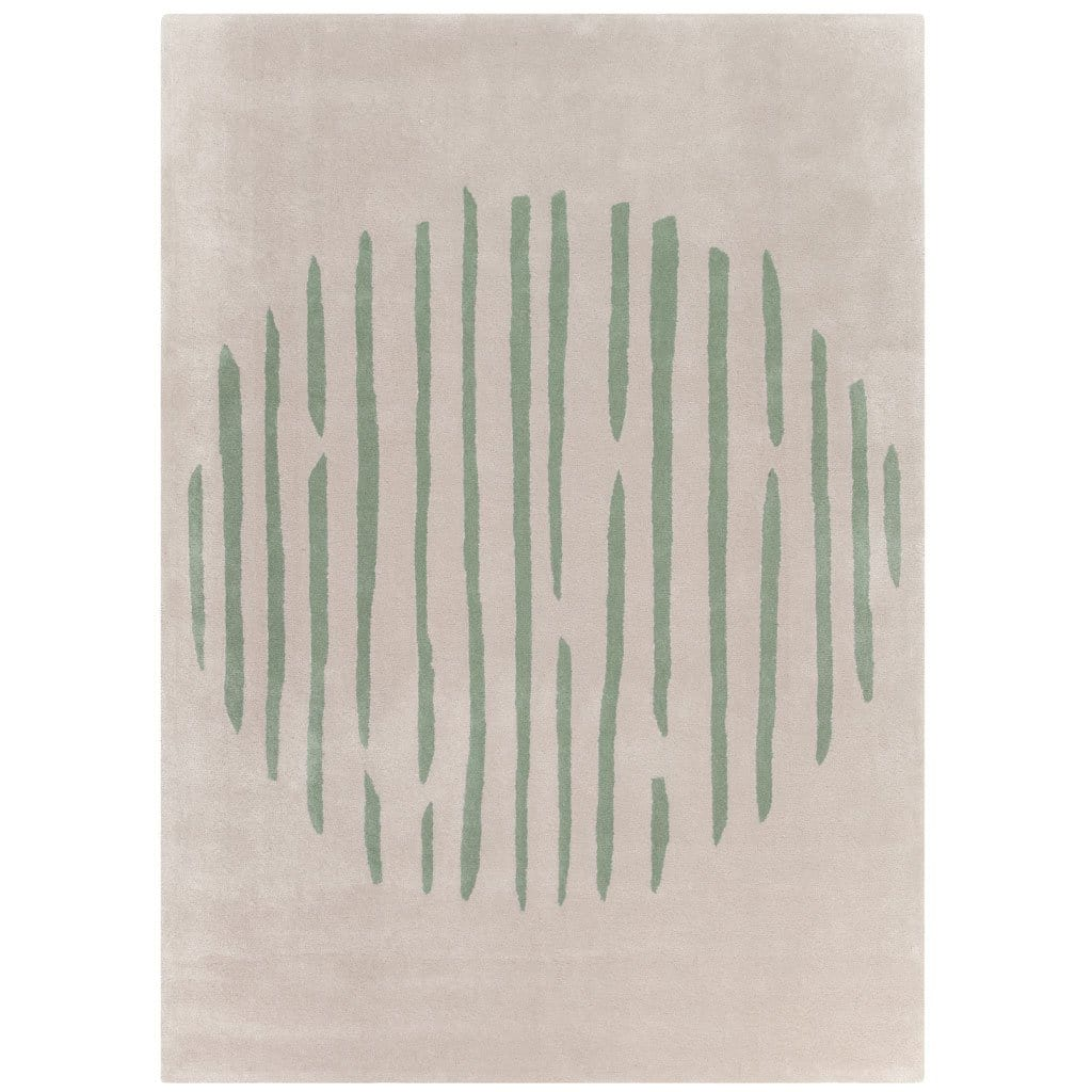 Island Leaf Rug is an abstract lines patterned rug in two colours, cream and green. The abstract lines pattern creates a circle design within this rectangular wool rug.