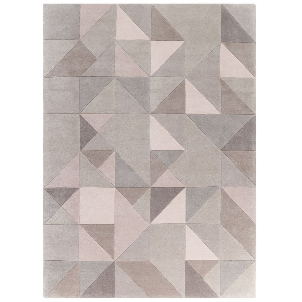Tielles Neutral Rug is a modern geometric rug which features a gentle and relaxing mix of soft greys, taupes and warm natural shades.