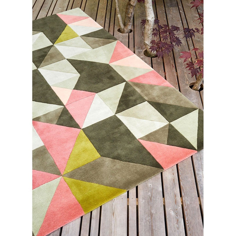 Tielles Rose Rug is a modern geometric rug which features a beautiful mix of pink, green and greys.