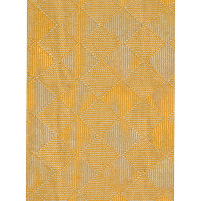 Claire Gaudion Zala Flax Rug is a Yellow Recycled Rug with a diamond weave pattern. Close up of rug detail.