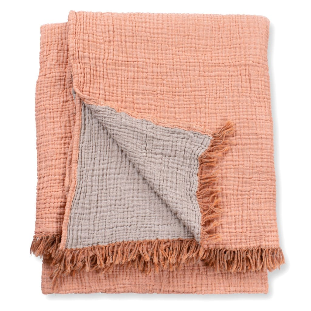 Terracotta Throw Blanket. A crinkle cotton terracotta throw blanket in nature's colours.