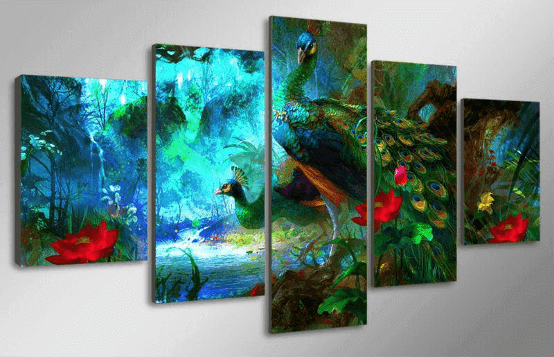 5 Panel Colorful Peacock Canvas