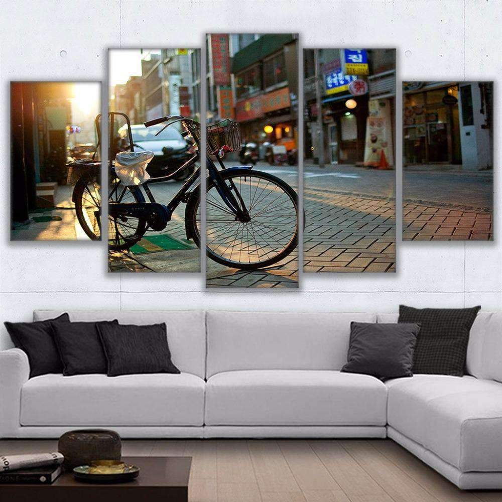 5 Piece Bicycle In The City Streets Canvas