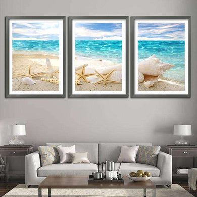 3 Pieces Of Wall Art Deco Seaview Sea Shells - Artisary