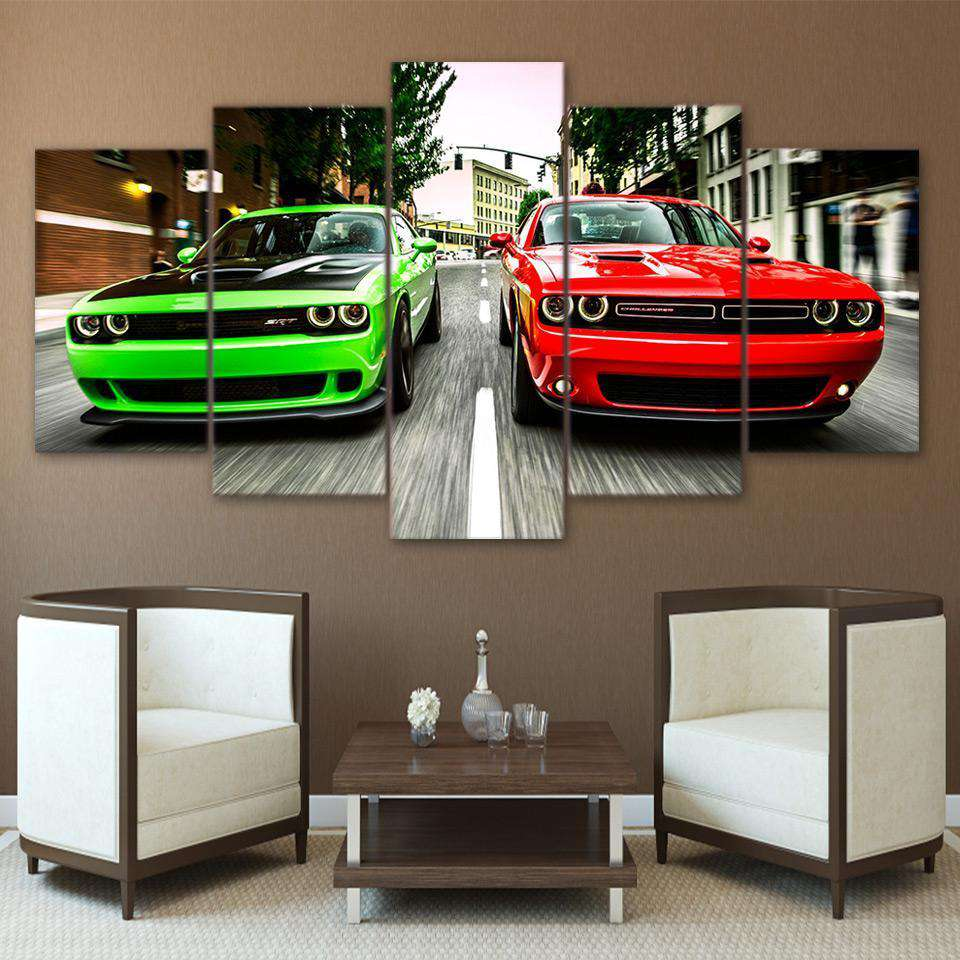 HD Printed Painting 5 Pieces Challenger Green Red Cars - Artisary