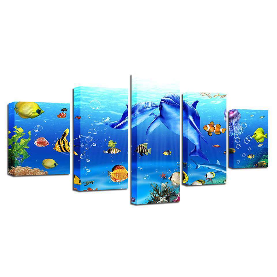 5 Pieces Underwater World Canvas