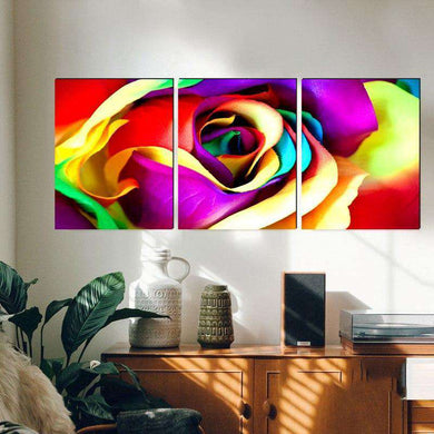 3pcs Colorful Rose Flower Classical Canvas - Artisary