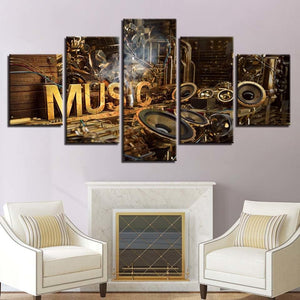 5 Panel Musical Instruments Wall Art