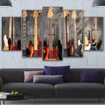5 Pieces Bass Guitar Collage Canvas