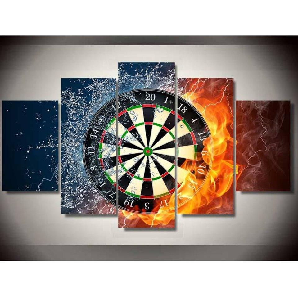 5 Panels Dart Board Canvas