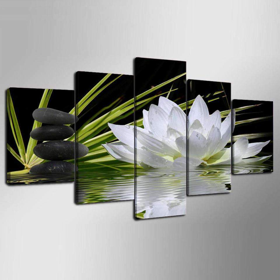 5 Pieces White Lotus Flower