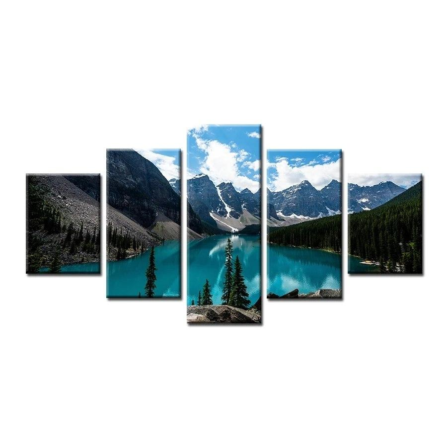 5 Panel Mountain Wall Art Canvas