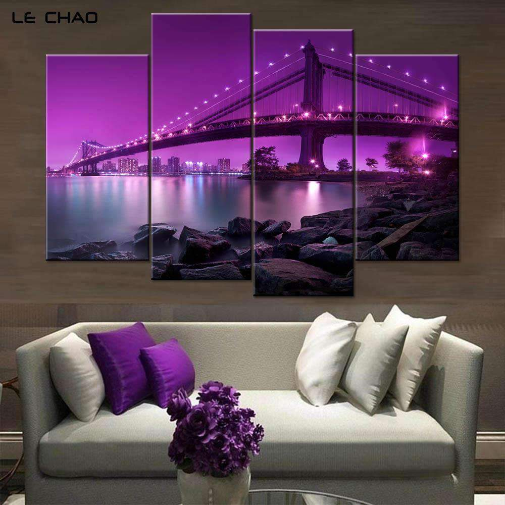 5PCS Purple Modern Canvas