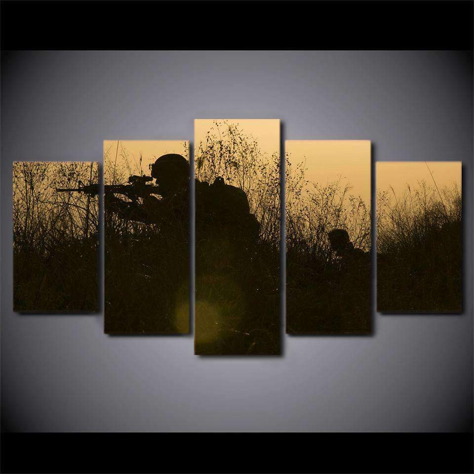 5 Pieces Soldiers Weapons Silhouettes Canvas