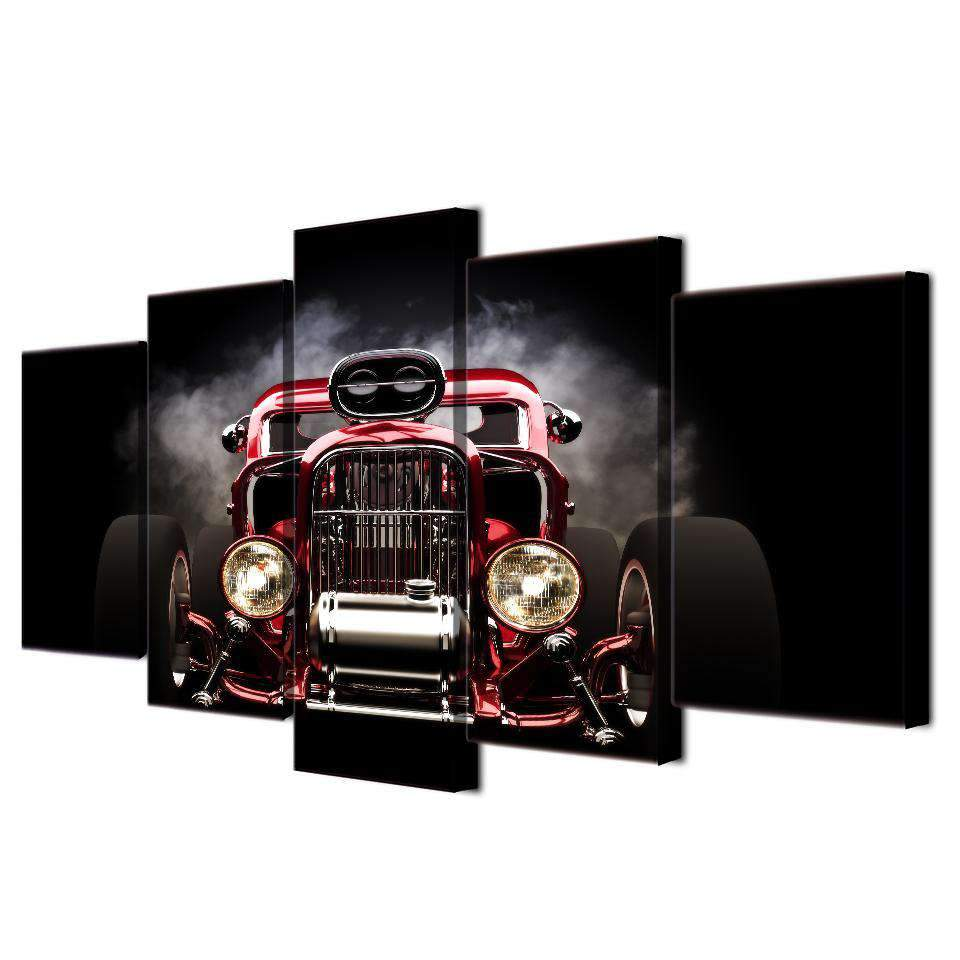 5 Panel Hot Rod Red Front View Wheels Car