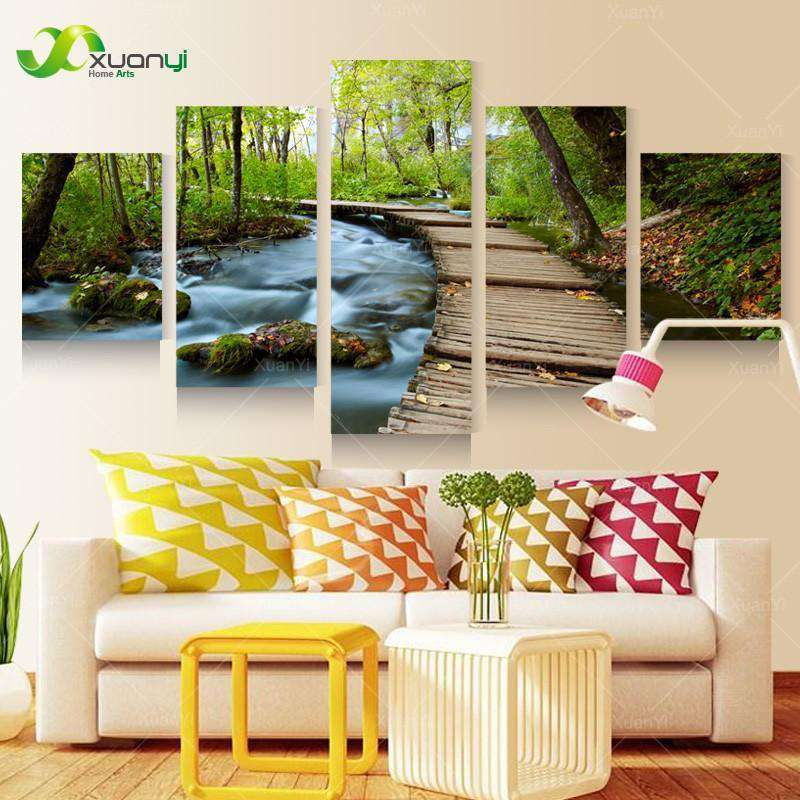 5 Piece Wall Art Canvas Waterfall Landscape