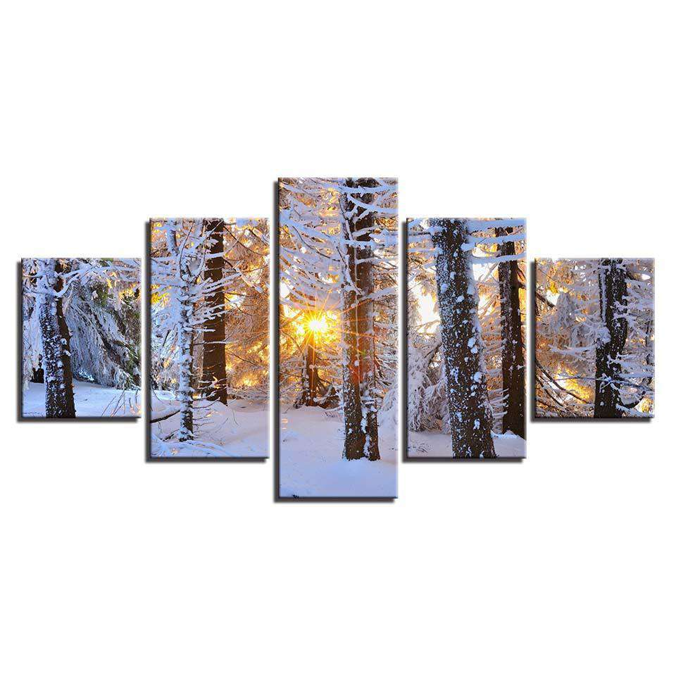 5 Pieces Sunrise Woods Snowfield Canvas