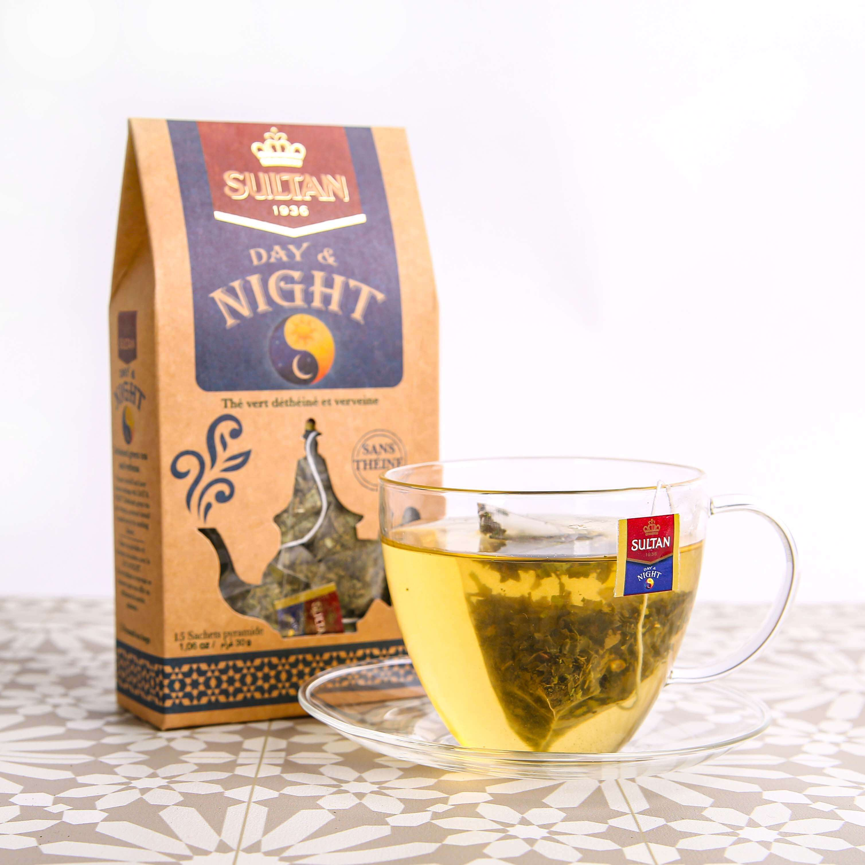 Day and Night Caffeine Free Verbena Green Tea - 15 Pyramid Tea Bags
