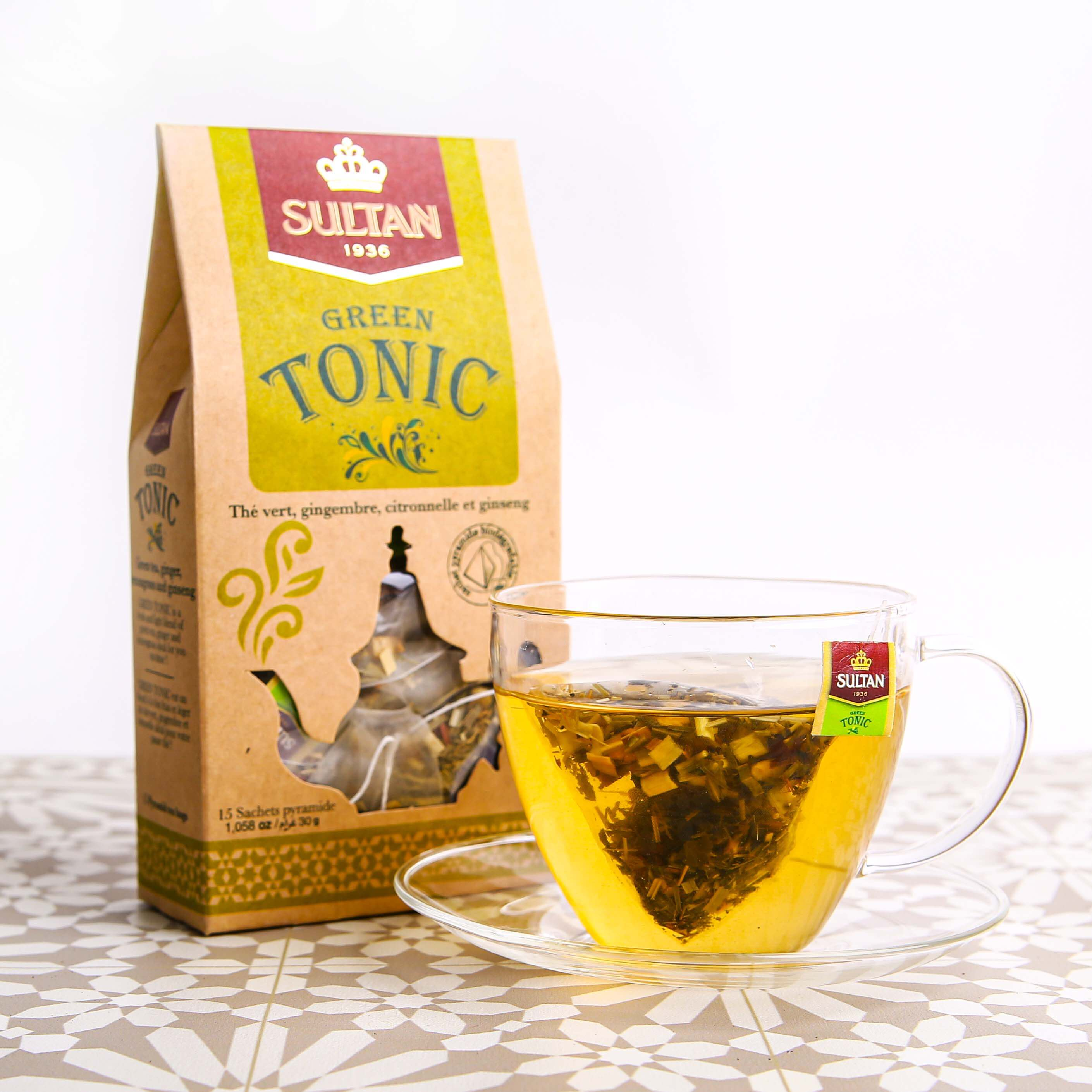 Green Tonic Ginger, Lemongrass and Ginseng Green Tea - 15 Pyramid Tea Bags