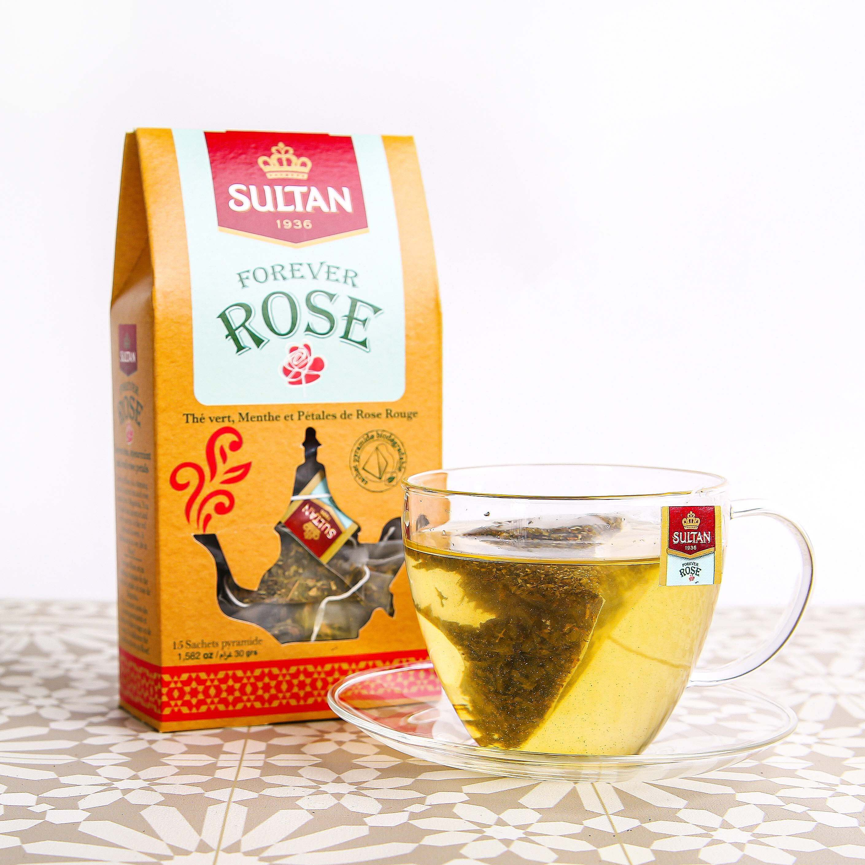 Forever Rose Mint and Red Rose Petals Green Tea - 15 Pyramid Tea Bags