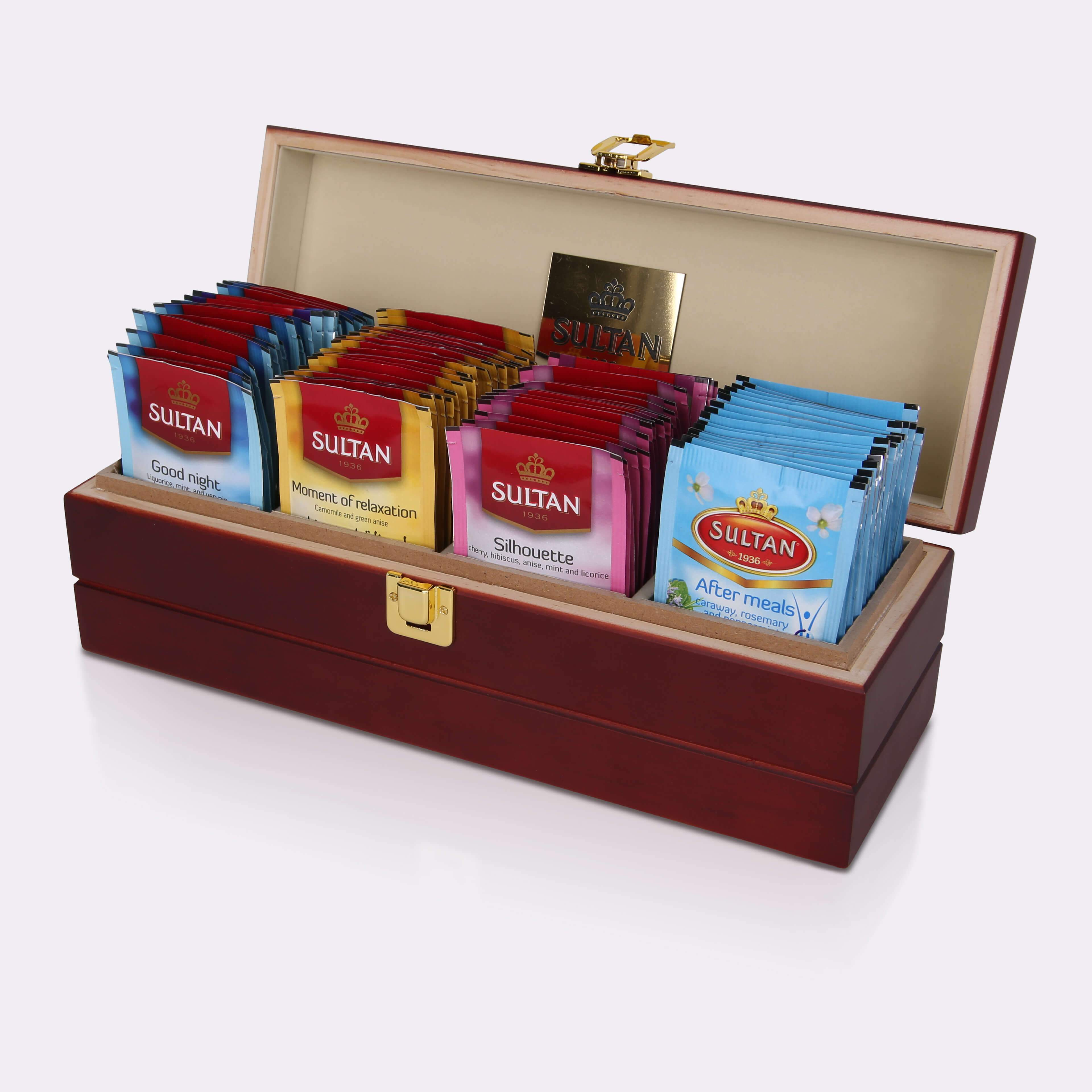 Sultan Tea Wooden Box Tea Keeper with 4 Wellness Collection teas