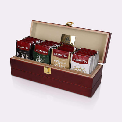 Sultan Tea Wooden Box Tea Keeper with 4 Exclusive Black Teas Collection teas