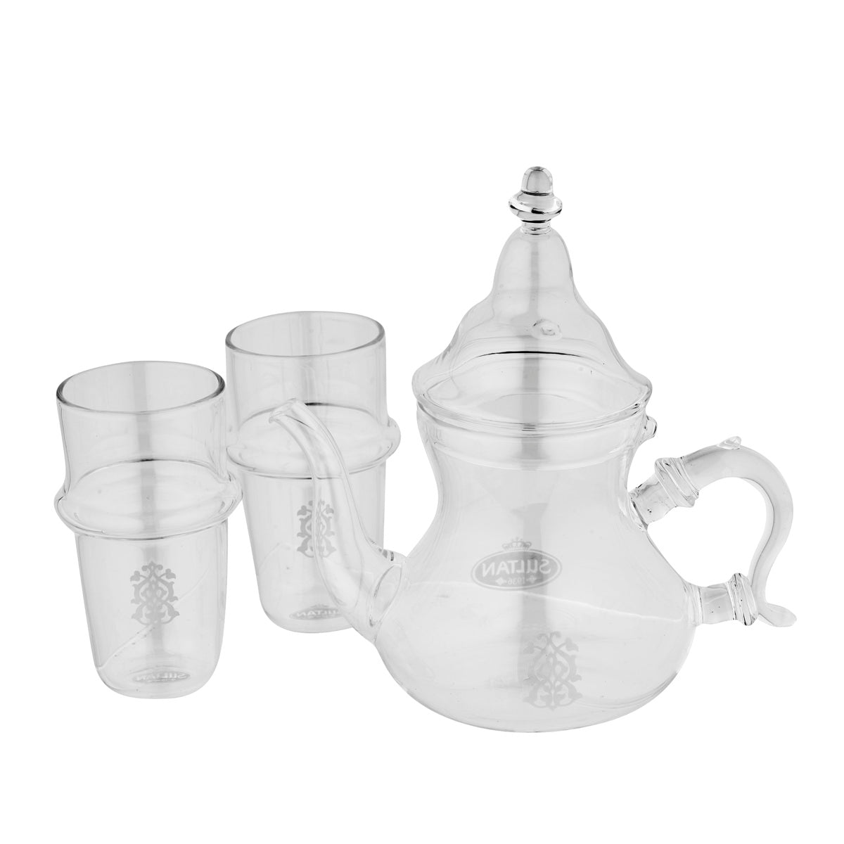 Marokkanische Glasteekanne Set mit 2 Glasbechern