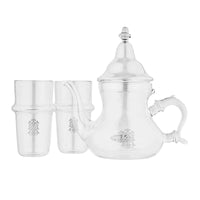 Moroccan Glass Teapot Set with 2 Glass Cups