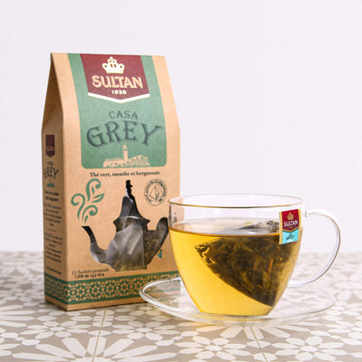 Casa Grey Mint and Bergamot Green Tea - 15 Pyramid Tea Bags