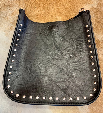 Black Studded Messenger Bag (silver or gold studs)
