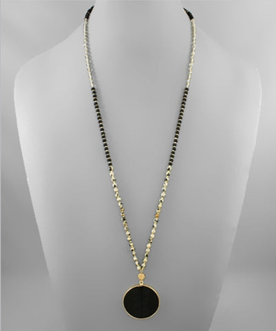 Jet Black Disk Stone Bead Necklace