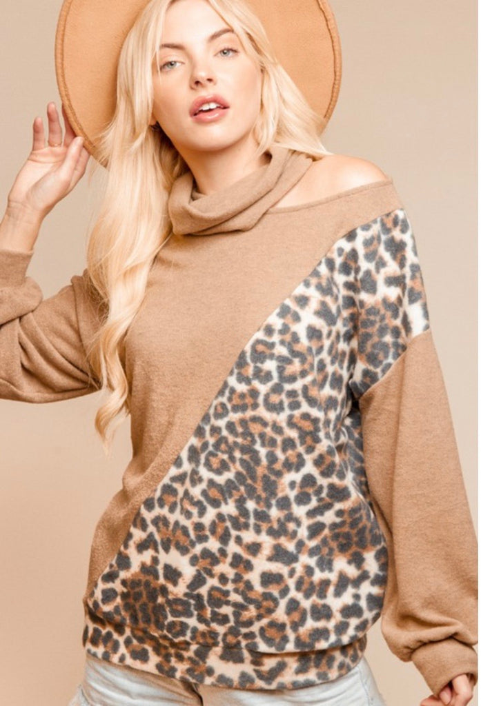 Leopard Asymmetrical Color Block Cut Out Top (small-3X)